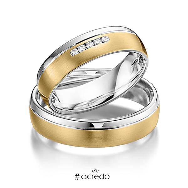 23bdd9b2ed95 Par de anillos de boda multicolorOro blanco 14 K Oro amarillo 14 K  Brillante - cortediamantesaprox