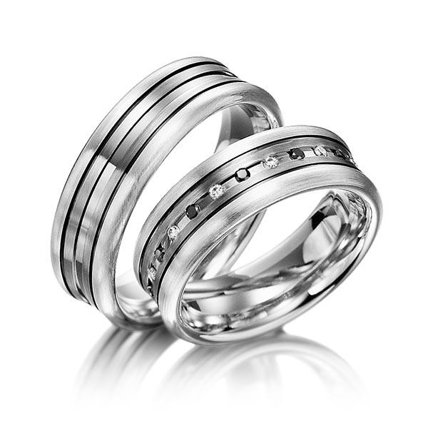 Trauringe Silber 925 Palladium 585 mit 0,24 ct. schwarz & tw, si