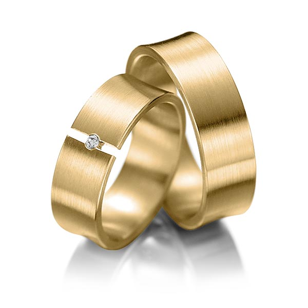 Trauringe Gelbgold 585 mit 0,02 ct. 