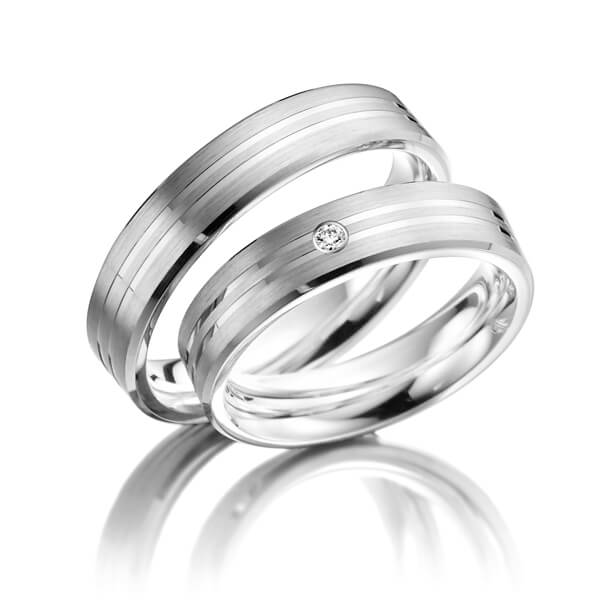 Trauringe Palladium 585 mit 0,03 ct. 