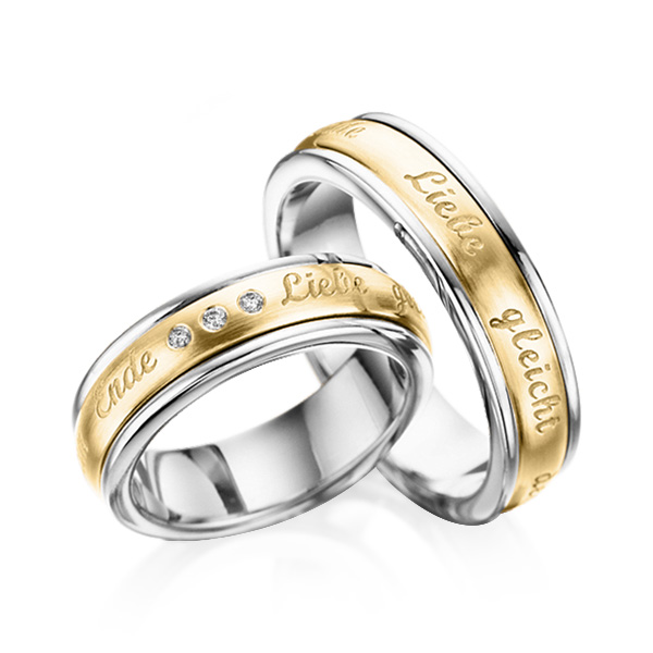 Trauringe Ring Palladium 950  Inlay Gelbgold 585 mit 0,06 ct.