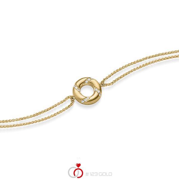 Armband met hanger in geelgoud 14 kt. met in totaal 0,06 ct. tw/si van acredo - A-1868-3