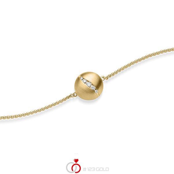 Armband met hanger in geelgoud 14 kt. met in totaal 0,076 ct. tw/si van acredo - A-1869-2