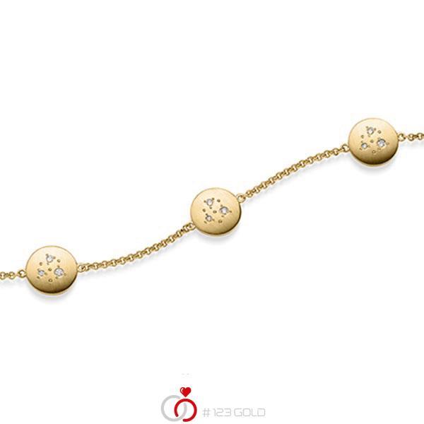 Armband met hanger in geelgoud 14 kt. met in totaal 0,09 ct. tw/si van acredo - A-1870-3
