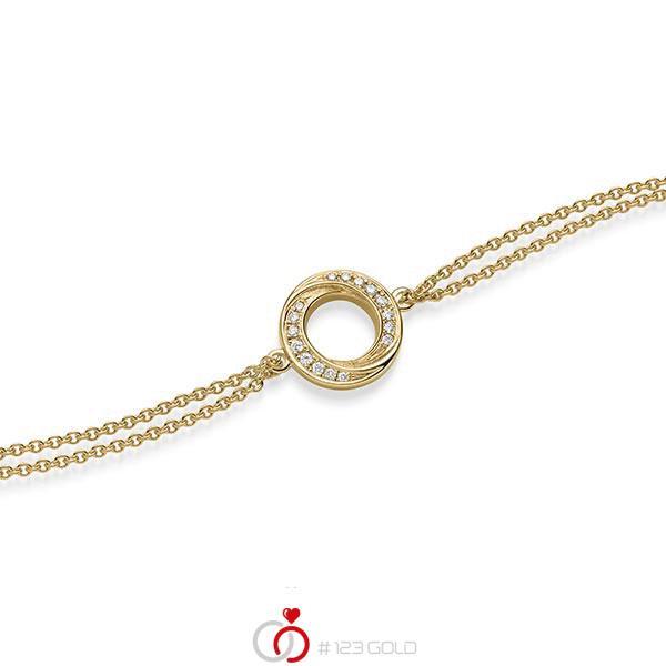 Armband met hanger in geelgoud 14 kt. met in totaal 0,112 ct. tw/si van acredo - A-1867-2