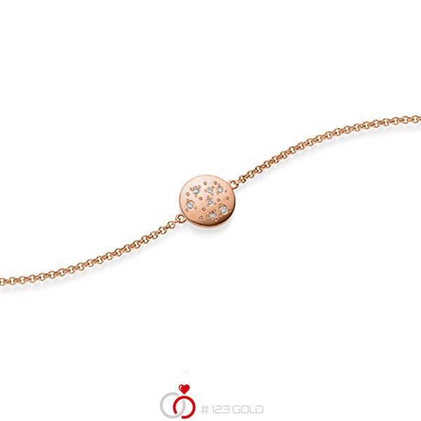 Armband met hanger in roodgoud 14 kt. met in totaal 0,05 ct. tw/si van acredo - A-1871-4