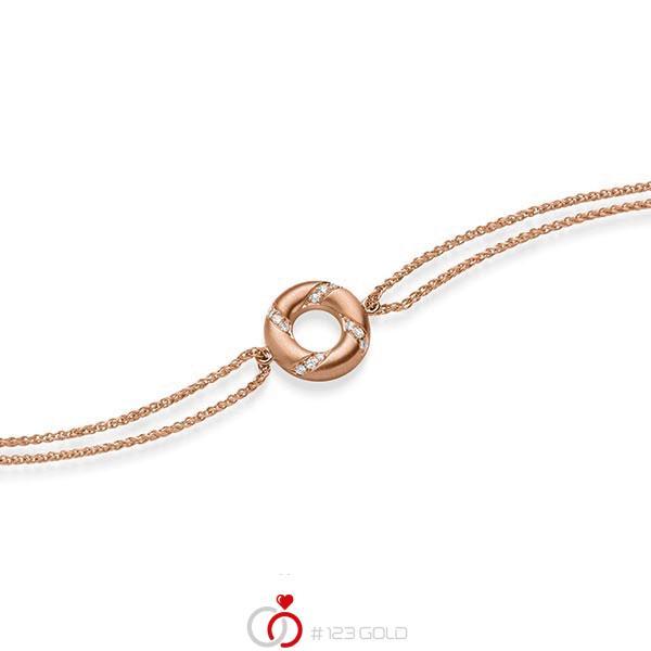 Armband met hanger in roodgoud 14 kt. met in totaal 0,06 ct. tw/si van acredo - A-1868-4