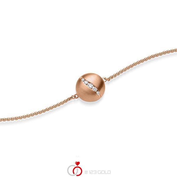 Armband met hanger in roodgoud 14 kt. met in totaal 0,076 ct. tw/si van acredo - A-1869-3
