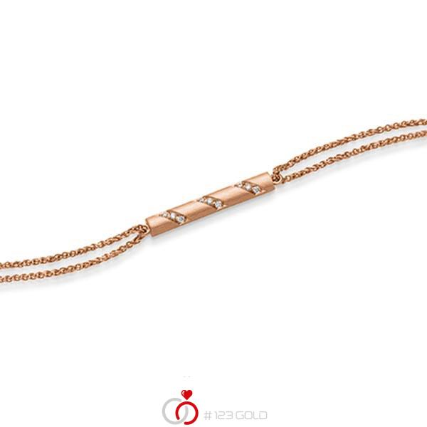 Armband met hanger in roodgoud 14 kt. met in totaal 0,09 ct. tw/si van acredo - A-1866-4