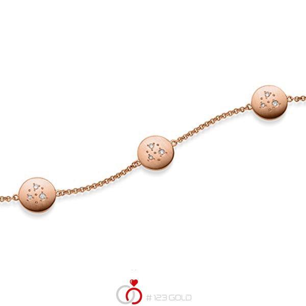 Armband met hanger in roodgoud 14 kt. met in totaal 0,09 ct. tw/si van acredo - A-1870-4