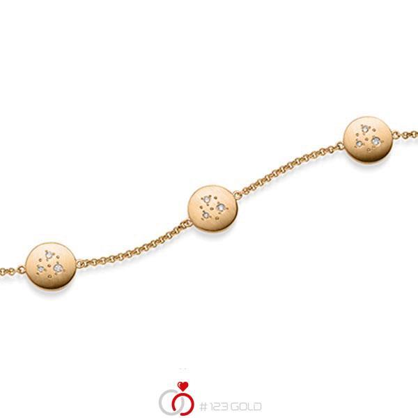 Armband met hanger in roségoud 14 kt. met in totaal 0,09 ct. tw/si van acredo - A-1870-1