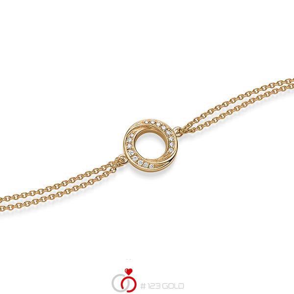 Armband met hanger in roségoud 14 kt. met in totaal 0,112 ct. tw/si van acredo - A-1867-4