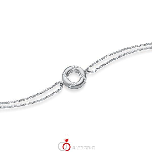 Armband met hanger in witgoud 14 kt. met in totaal 0,06 ct. tw/si van acredo - A-1868-1