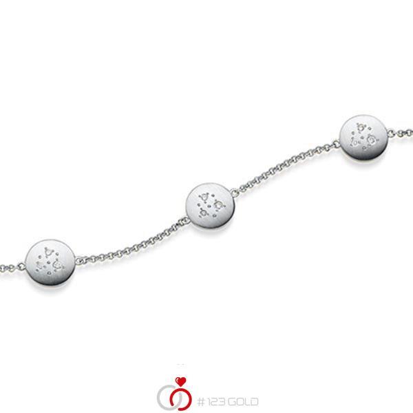Armband met hanger in witgoud 14 kt. met in totaal 0,09 ct. tw/si van acredo - A-1870-2