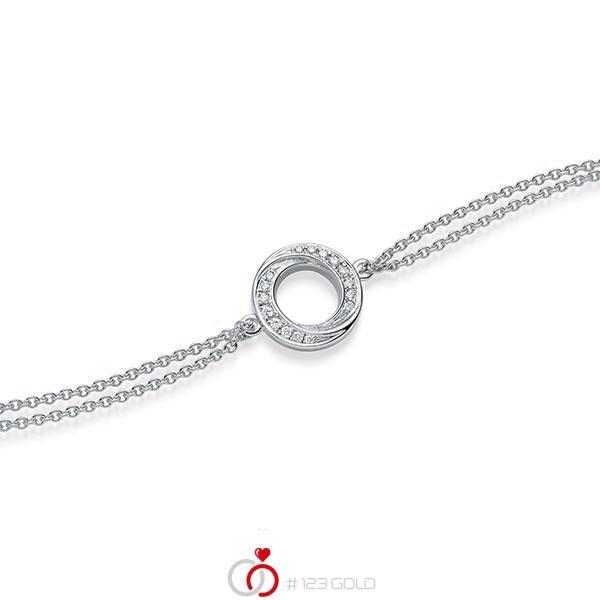 Armband met hanger in witgoud 14 kt. met in totaal 0,112 ct. tw/si van acredo - A-1867-1