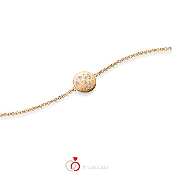Armband mit Anhänger in Roségold 585 mit zus. 0,05 ct. tw, si von acredo - A-1871-1