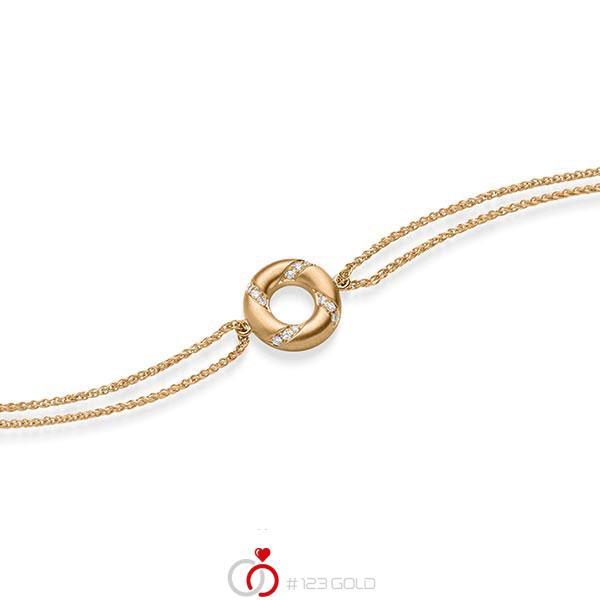 Armband mit Anhänger in Roségold 585 mit zus. 0,06 ct. tw, si von acredo - A-1868-2