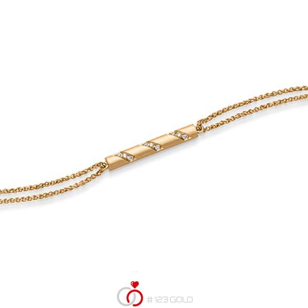 Armband mit Anhänger in Roségold 585 mit zus. 0,09 ct. tw, si von acredo - A-1866-1