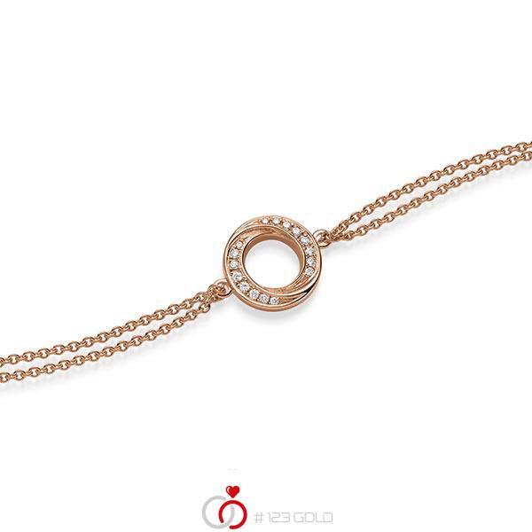 Armband mit Anhänger in Rotgold 585 mit zus. 0,112 ct. tw, si von acredo - A-1867-3