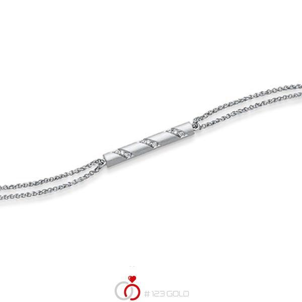 Armband mit Anhänger in Weissgold 585 mit zus. 0,09 ct. tw, si von acredo - A-1866-3