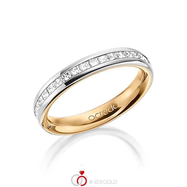 bicolor Memoire-Trauring/Ehering in außen Graugold 585 , innen Roségold 585 halbausgefasst mit zus. 0,54 ct. Prinzess-Diamant tw, si von acredo - A-1554-4