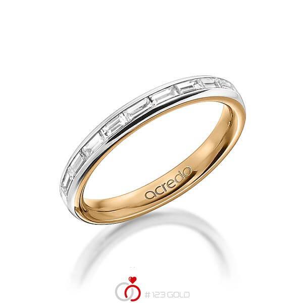 bicolor Memoire-Trauring/Ehering in aussen Graugold 585 , innen Roségold 585 halbausgefasst mit zus. 0,55 ct. Baguette-Diamant tw, vs von acredo - A-1555-1