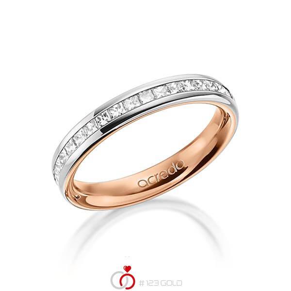 bicolor Memoire-Trauring/Ehering in außen Graugold 585 , innen Rotgold 585 halbausgefasst mit zus. 0,54 ct. Prinzess-Diamant tw, si von acredo - A-1554-2