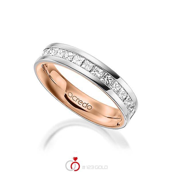 bicolor Memoire-Trauring/Ehering in aussen Graugold 585 , innen Rotgold 585 halbausgefasst mit zus. 0,98 ct. Prinzess-Diamant tw, si von acredo - A-1556-3
