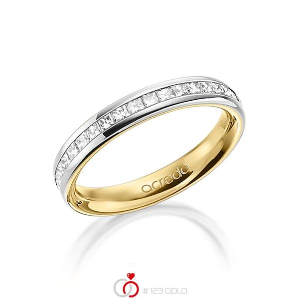 bicolor Memoire-Trauring/Ehering in außen Platin 950 , innen Gelbgold 750 halbausgefasst mit zus. 0,54 ct. Prinzess-Diamant tw, si von acredo - A-1554-9