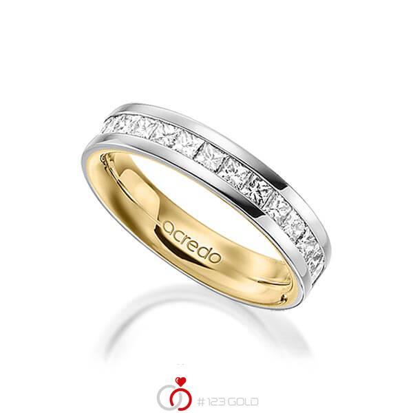 bicolor Memoire-Trauring/Ehering in außen Platin 950 , innen Gelbgold 750 halbausgefasst mit zus. 0,98 ct. Prinzess-Diamant tw, si von acredo - A-1556-9