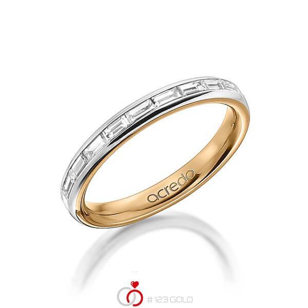 bicolor Memoire-Trauring/Ehering in aussen Platin 950 , innen Roségold 750 halbausgefasst mit zus. 0,55 ct. Baguette-Diamant tw, vs von acredo - A-1555-10