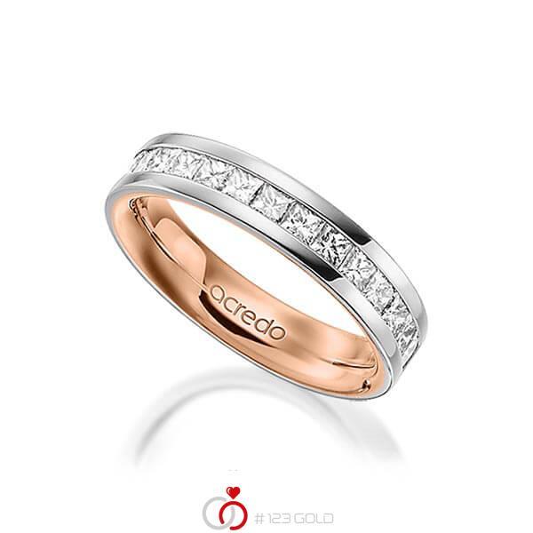 bicolor Memoire-Trauring/Ehering in aussen Platin 950 , innen Rotgold 750 halbausgefasst mit zus. 0,98 ct. Prinzess-Diamant tw, si von acredo - A-1556-11