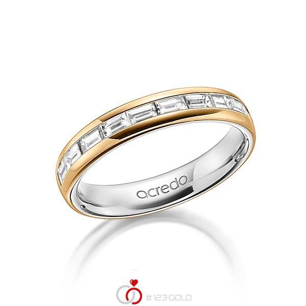 bicolor Memoire-Trauring/Ehering in aussen Roségold 585 , innen Graugold 585 halbausgefasst mit zus. 0,8 ct. Baguette-Diamant tw, vs von acredo - A-1557-1