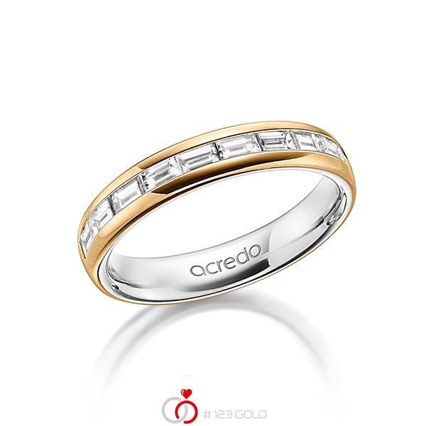 bicolor Memoire-Trauring/Ehering in außen Roségold 750 , innen Platin 950 halbausgefasst mit zus. 0,8 ct. Baguette-Diamant tw, vs von acredo - A-1557-9