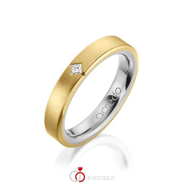 bicolor Trauring/Ehering in außen Gelbgold 585 , innen Graugold 585 mit zus. 0,05 ct. Prinzess-Diamant tw, si von acredo - A-1479-11