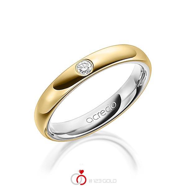 bicolor Trauring/Ehering in aussen Gelbgold 585 , innen Graugold 585 mit zus. 0,06 ct. Brillant tw, si von acredo - A-1476-11