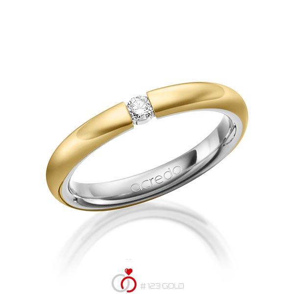 bicolor Trauring/Ehering in außen Gelbgold 585 , innen Graugold 585 mit zus. 0,08 ct. Brillant tw, si von acredo - A-1475-12