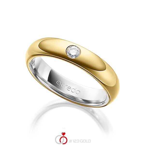 bicolor Trauring/Ehering in außen Gelbgold 585 , innen Graugold 585 mit zus. 0,1 ct. Brillant tw, si von acredo - A-1480-1