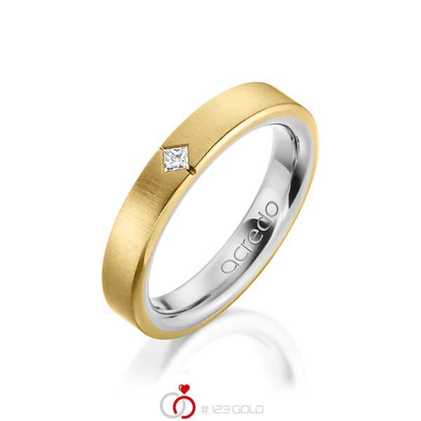 bicolor Trauring/Ehering in aussen Gelbgold 750 , innen Platin 950 mit zus. 0,05 ct. Prinzess-Diamant tw, si von acredo - A-1479-13