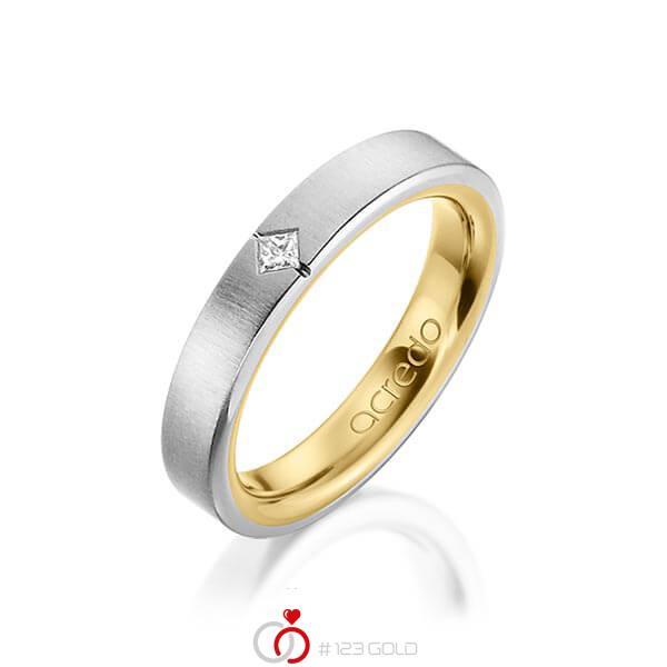 bicolor Trauring/Ehering in außen Graugold 585 , innen Gelbgold 585 mit zus. 0,05 ct. Prinzess-Diamant tw, si von acredo - A-1479-2