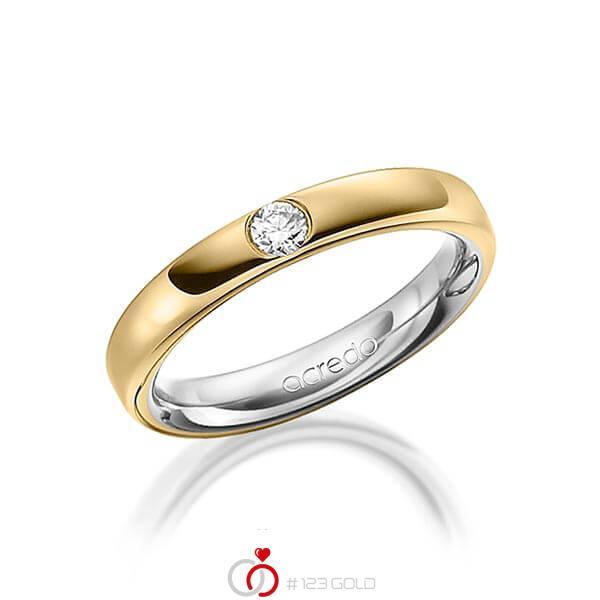 bicolor Trauring/Ehering in aussen Graugold 585 , innen Gelbgold 585 mit zus. 0,12 ct. Brillant tw, si von acredo - A-1477-10