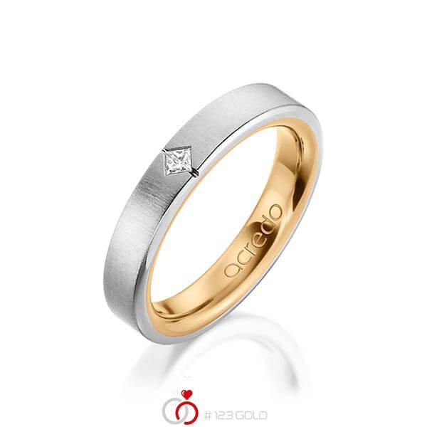bicolor Trauring/Ehering in außen Graugold 585 , innen Roségold 585 mit zus. 0,05 ct. Prinzess-Diamant tw, si von acredo - A-1479-3