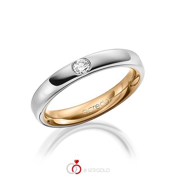 bicolor Trauring/Ehering in aussen Graugold 585 , innen Roségold 585 mit zus. 0,12 ct. Brillant tw, si von acredo - A-1477-9