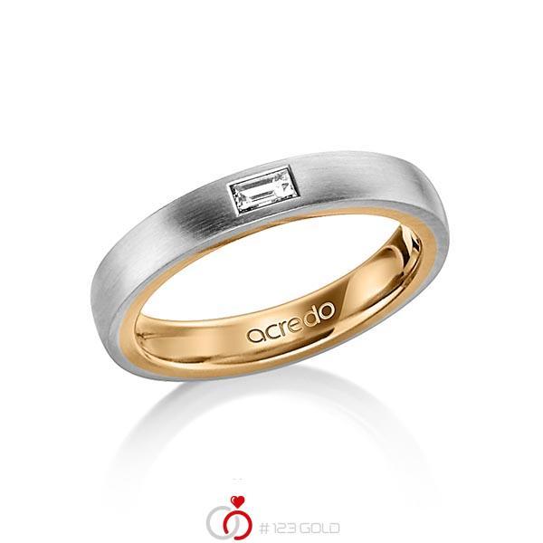 bicolor Trauring/Ehering in aussen Graugold 585 , innen Roségold 585 mit zus. 0,15 ct. Baguette-Diamant tw, vs von acredo - A-1478-3
