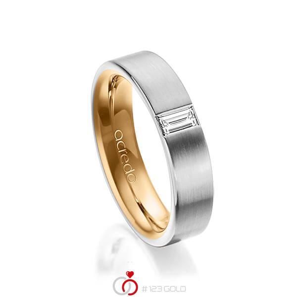 bicolor Trauring/Ehering in aussen Graugold 585 , innen Roségold 585 mit zus. 0,2 ct. Baguette-Diamant tw, vs von acredo - A-1481-2