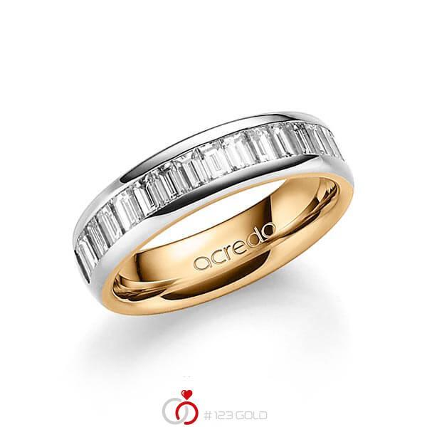 bicolor Trauring/Ehering in aussen Graugold 585 , innen Roségold 585 mit zus. 1,68 ct. Baguette-Diamant tw, vs von acredo - A-1552-1