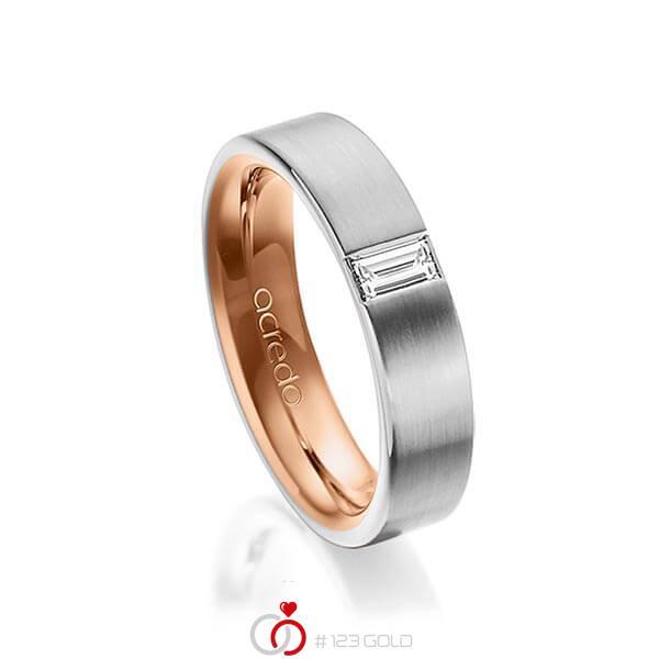 bicolor Trauring/Ehering in außen Graugold 585 , innen Rotgold 585 mit zus. 0,2 ct. Baguette-Diamant tw, vs von acredo - A-1481-3