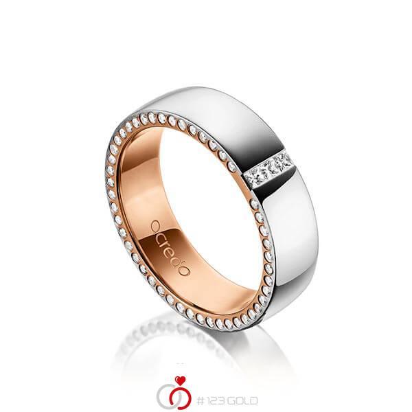 bicolor Trauring/Ehering in außen Graugold 585 , innen Rotgold 585 mit zus. 0,325 ct. Prinzess-Diamant & Brillant tw, si von acredo - A-1496-3