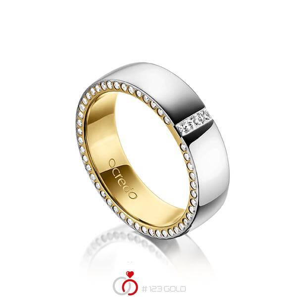 bicolor Trauring/Ehering in aussen Platin 950 , innen Gelbgold 750 mit zus. 0,325 ct. Prinzess-Diamant & Brillant tw, si von acredo - A-1496-10