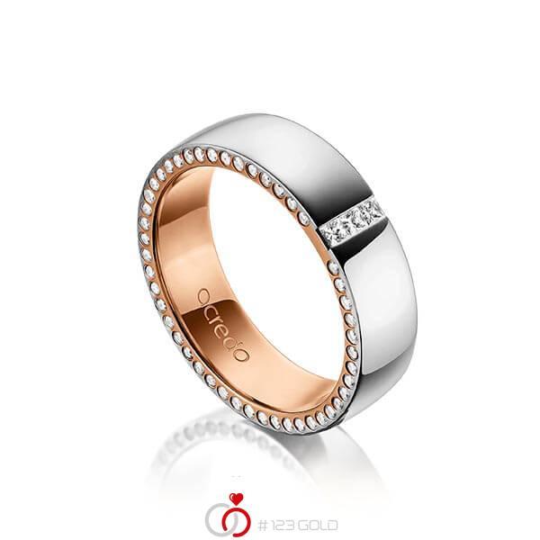 bicolor Trauring/Ehering in außen Platin 950 , innen Rotgold 750 mit zus. 0,325 ct. Prinzess-Diamant & Brillant tw, si von acredo - A-1496-11